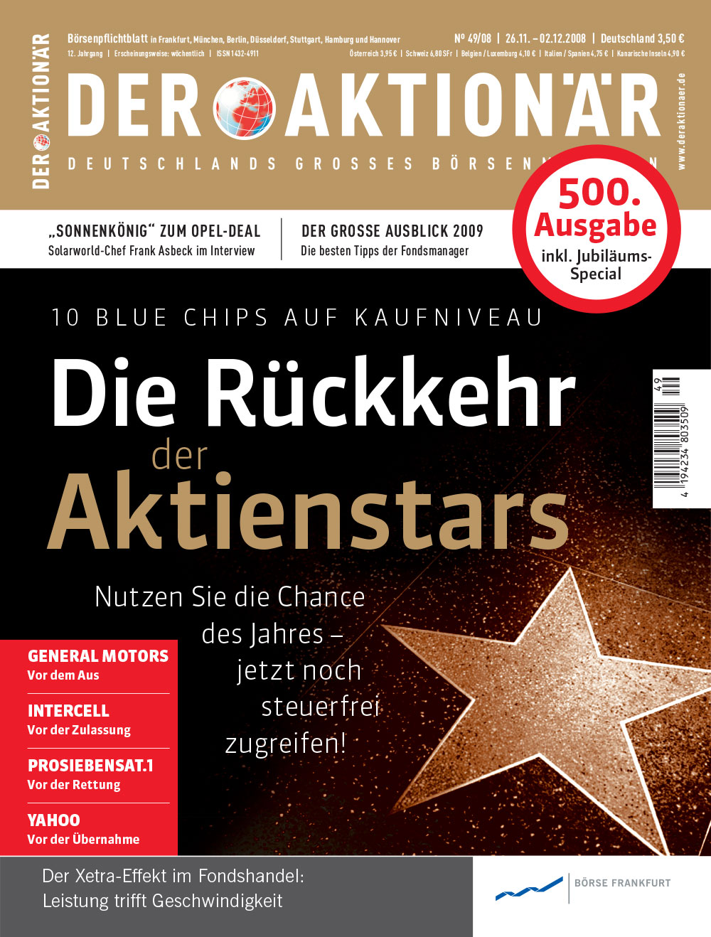 DER AKTIONÄR November/Dezember 2008: Die Rückkehr der Aktienstars