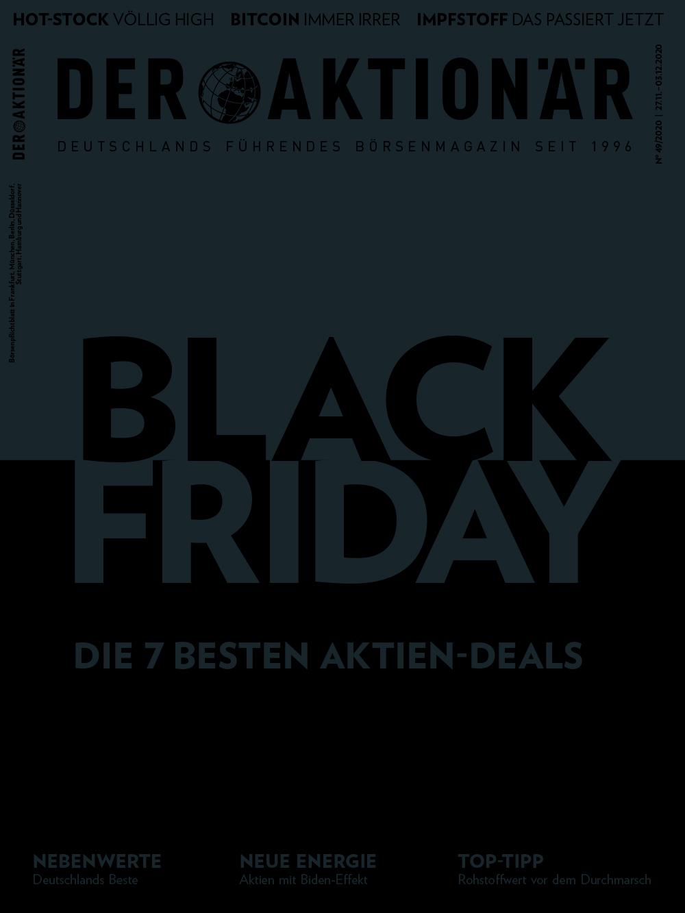 DER AKTIONÄR November/Dezember 2020: Black Friday – Die 7 besten Aktien-Deals