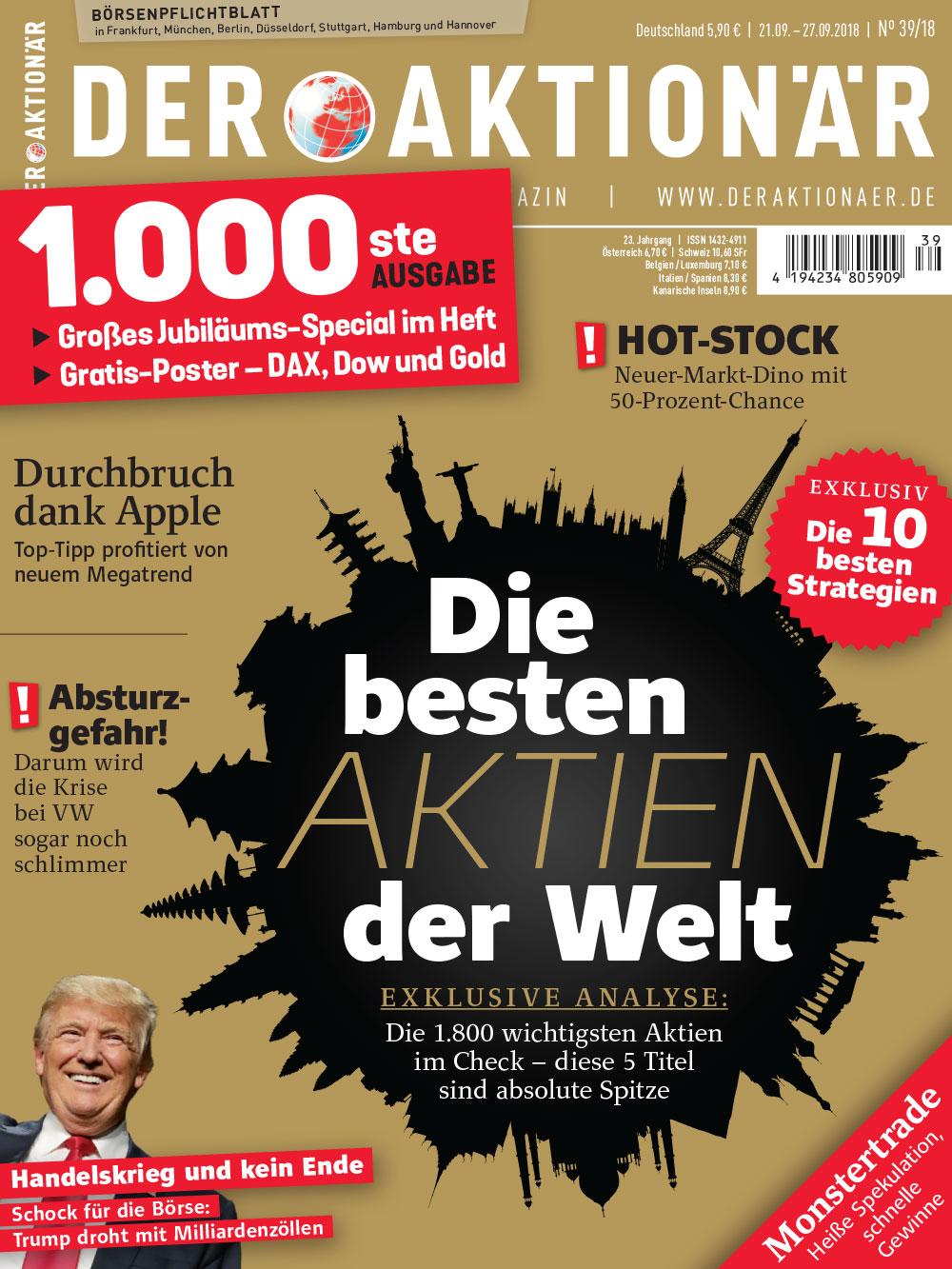 DER AKTIONÄR September 20018: Die besten Aktien der Welt